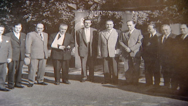 photograph of kamal jumblatt and the board members of the progressive socialist party in 1958. - 1958 stock videos & royalty-free footage