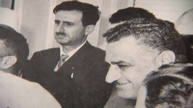 photograph of late druze leader kamal jumblatt with late egyptian president gamal abdel nasser on the 9th of march 1958 in damascus, syria. - 1958 stock videos & royalty-free footage