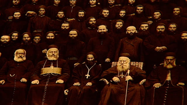 photograph of patriarch elias boutros hoayek sitting in the front middle. he was the 72nd maronite patriarch of antioch from 1899 to his death in... - 1899 stock videos & royalty-free footage