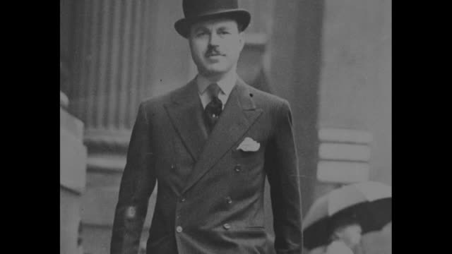 photograph of simpson in suit and derby hat / note exact year not known / note film has nitrate deterioration - wallis simpson stock videos & royalty-free footage