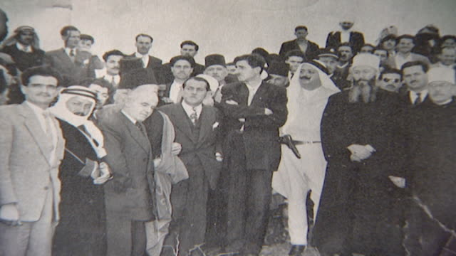 photograph taken on 25 feb 1954 of late druze leader kamal jumblatt with a delegation, congratulating syrian nationalist druze leader sultan pasha... - 1954 stock videos & royalty-free footage