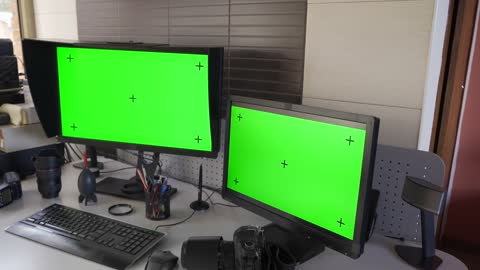 photographer computer photography workstation with two monitors and chroma key blank screen at home office - two objects stock videos & royalty-free footage