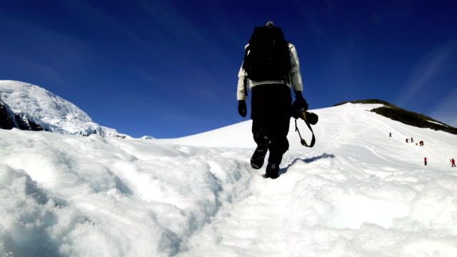 photographer hiking in antarctica - cruise antarctica stock videos & royalty-free footage
