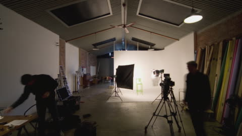 t/l, ws, photographer photographing fashion model in studio, auckland, new zealand - camera photographic equipment stock videos & royalty-free footage