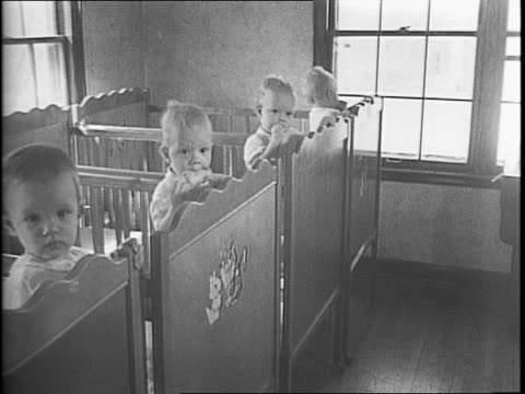 photographer shooting a picture through a nursing room door window / nurses in a maternity ward holding quadruplets / nurses changing diapers bathing... - changing nappy stock videos & royalty-free footage