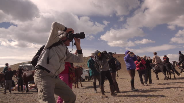 photographers and kazakh eagle hunters in mongolia at golden eagle festival - medium group of animals stock-videos und b-roll-filmmaterial