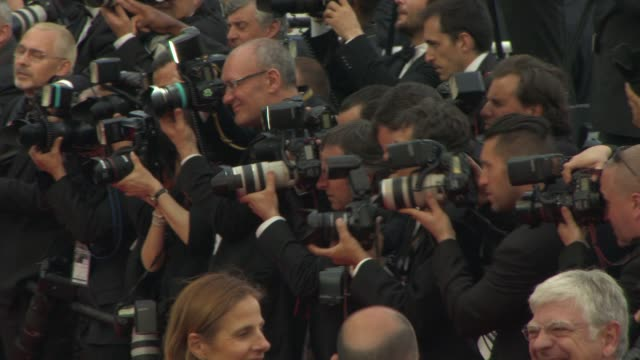 photographers at 'irrational man' red carpet at palais des festivals on may 15, 2015 in cannes, france. - fotografo video stock e b–roll