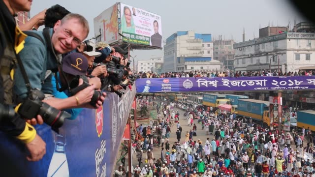 Photographers gathered to take photos of Biswa Ijtema the second largest religious gathering of Muslims in the world in Tongi 20 km from Dhaka...