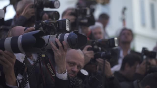 photographers in the media pen at amfar gala cannes 2019 on may 17, 2019 in cap d'antibes, france. - 第71回カンヌ国際映画祭点の映像素材/bロール