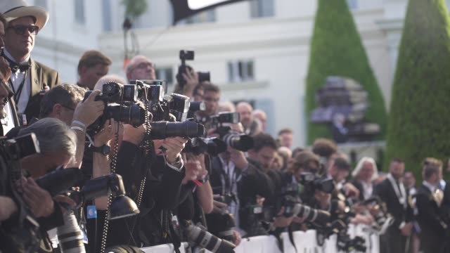 broll photographers in the media pen at amfar gala cannes 2019 on may 17 2019 in cap d'antibes france - cannes stock videos & royalty-free footage