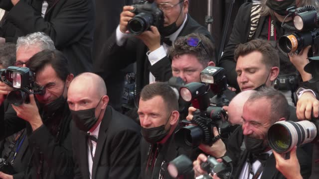 """photographers on the red carpet at the """"annette"""" screening and opening ceremony during the 74th annual cannes film festival on july 6, 2021 in... - cannes stock videos & royalty-free footage"""
