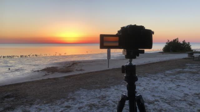 vidéos et rushes de photographing beach sunset - appareil photo