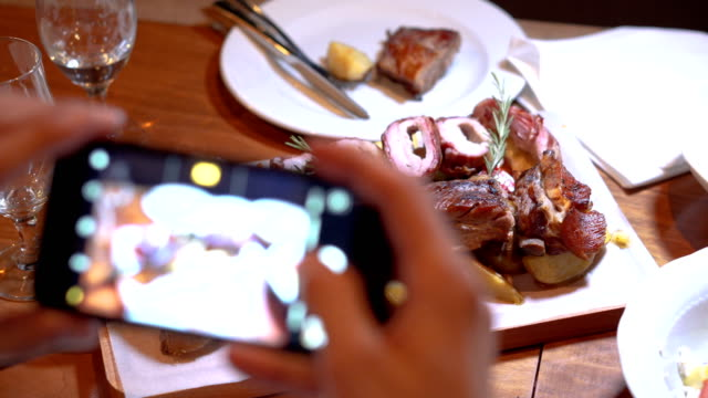 photographing food on a smartphone - photographing stock videos and b-roll footage