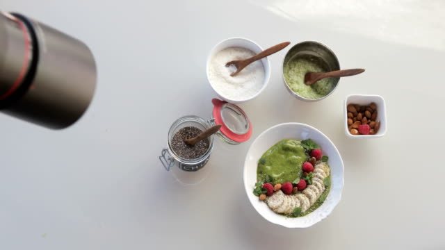 photographing food styling green smoothie - food styling stock videos & royalty-free footage