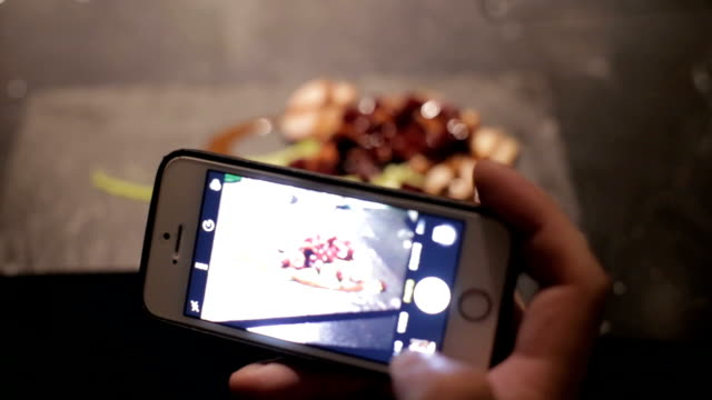 photographing healthy lunch on a smartphone - silver service stock videos & royalty-free footage