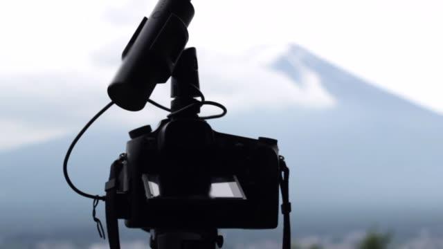 photographing mount fuji by camera - satoyama scenery stock videos & royalty-free footage