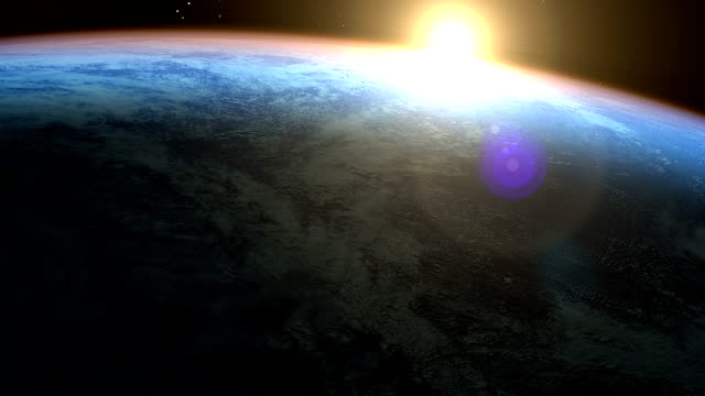 PhotoReal Earth & sunrise seen from space