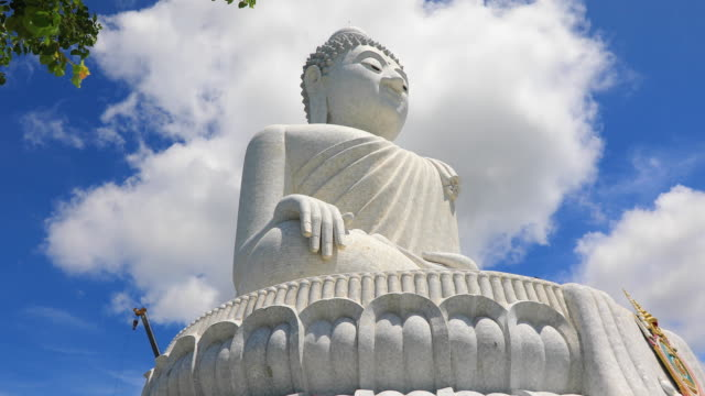 phuket's big buddha is one of the island's most important and revered landmarks on the island. - statue stock videos & royalty-free footage