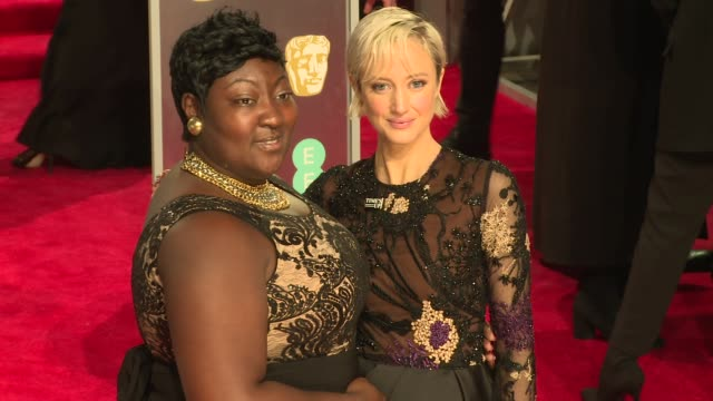 phyll opokugyimah andrea riseborough at royal albert hall on february 18 2018 in london england - time's up social movement stock videos and b-roll footage