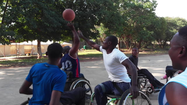Physically Challenged African Wheelchair Basketball Team Playing a Friendly Match