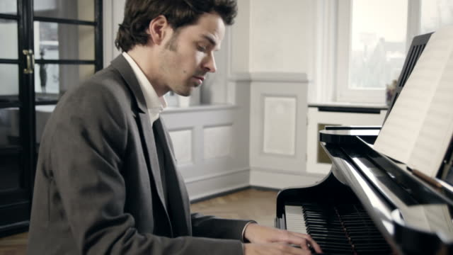 pianist composing music - musical theater stock videos and b-roll footage