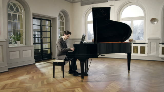 Pianist composing music