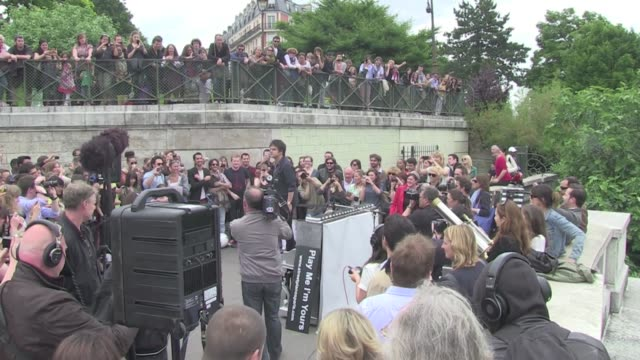 pianist singer jamie callum gave a special concert on sacré coeur basilic montmartre paris. crowded and amazing view !!! paris, france 26th june 2013 - jamie cullum stock videos & royalty-free footage