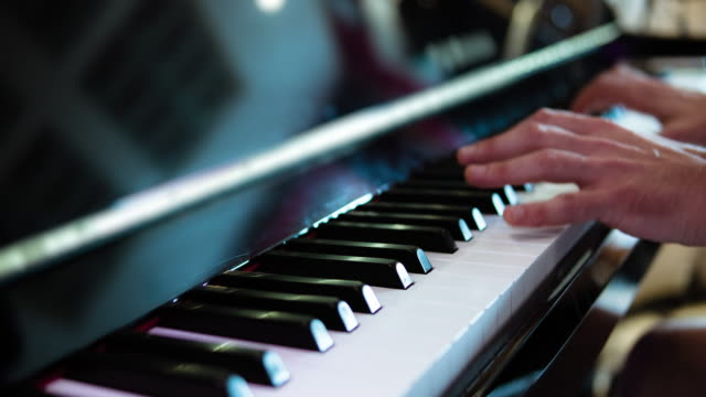 Piano player playing his composition.  Professional recorded sound.