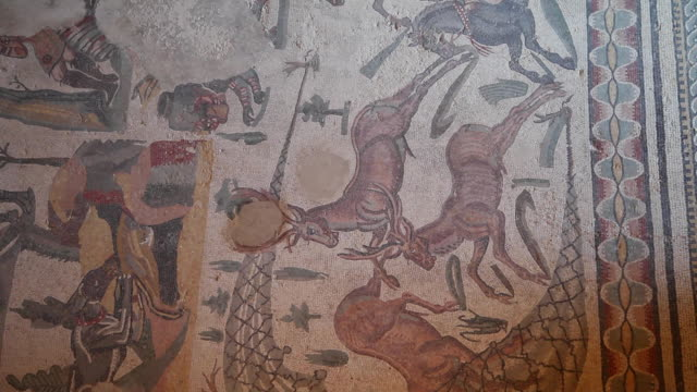 piazza armerina (villa romana del casale), room of the small hunt - mosaic stock videos & royalty-free footage