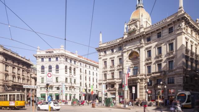 Piazza Cordusio in Milan, Italy.