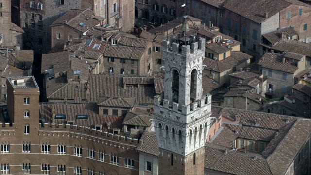 piazza del campo in morning light  - aerial view - tuscany, province of siena, siena, italy - piazza del campo stock videos and b-roll footage