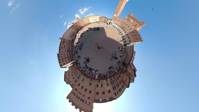 zo / piazza del campo of siena with little planet effect - palazzo pubblico stock videos and b-roll footage