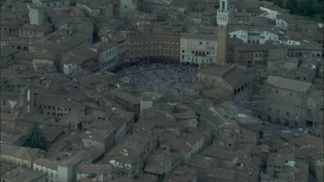 aerial, piazza del campo, siena, tuscany, italy - palazzo pubblico stock videos and b-roll footage