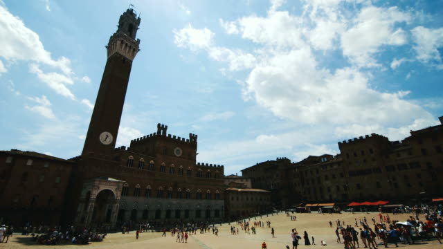 piazza del campo, siena - torre del mangia stock videos and b-roll footage