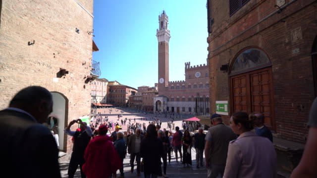 piazza del campo - torre del mangia stock videos and b-roll footage