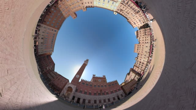 zo / piazza del campo with little planet effect - 360 video stock videos & royalty-free footage