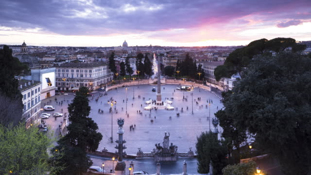piazza del popolo in rome, italy. - obelisk stock videos & royalty-free footage