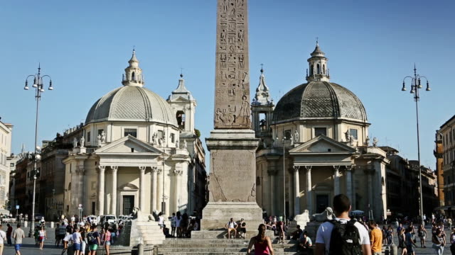piazza del popolo in rome - obelisk stock videos & royalty-free footage