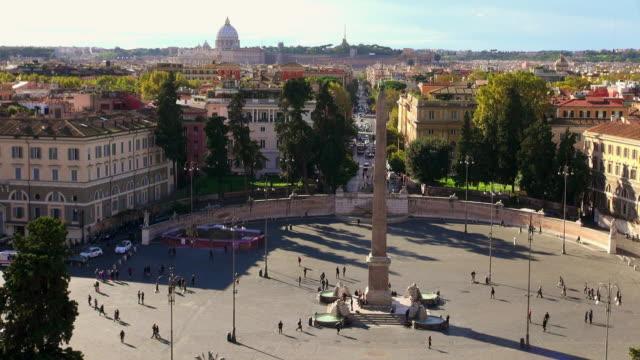 ws ha piazza del popolo / rome, latium, italy - ラツィオ州点の映像素材/bロール