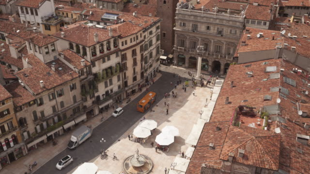 Piazza delle Erbe in the old city of Verona, Italy.