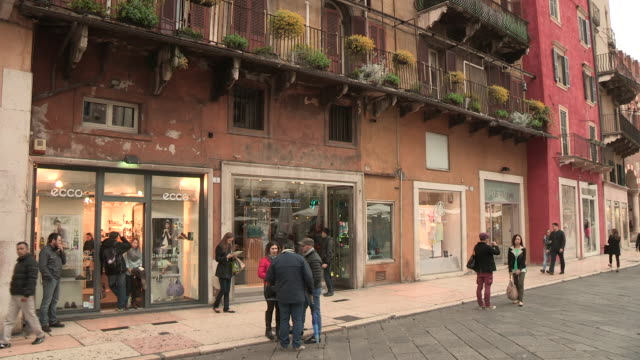 piazza dell'erbe, verona, italy - window display stock videos & royalty-free footage