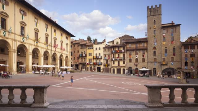 piazza grande in arezzo, italy. - circa 13th century stock videos & royalty-free footage