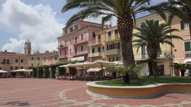 piazza matteotti in porto azzurro - island of elba stock videos & royalty-free footage