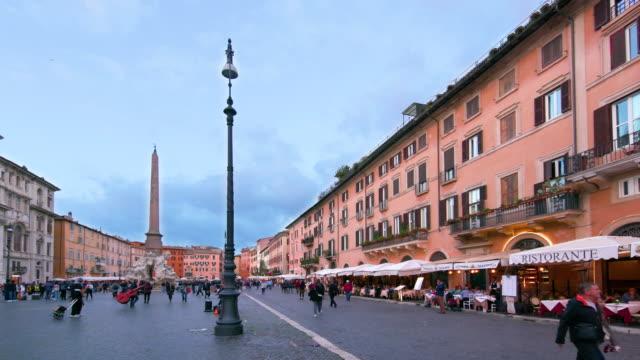 piazza navona & egyptian obelisk, rome, italy - piazza navona stock videos & royalty-free footage