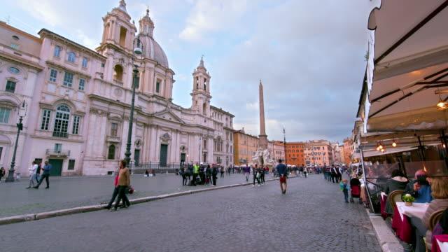 piazza navona & egyptian obelisk, rome, italy - roman stock videos & royalty-free footage