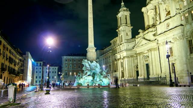 Piazza Navona, rainy night time lapse video - Rome