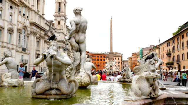 piazza navona, rome, italy - obelisk stock videos & royalty-free footage