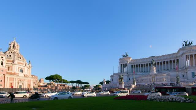 piazza venezia & vittorio emanuele ii monument, rome, italy - piazza venezia stock videos and b-roll footage