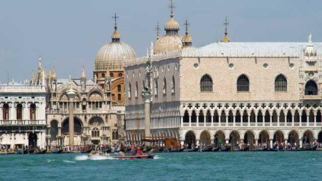 MS, Piazzetta San Marco seen across water, boats in foreground, Venice, Italy