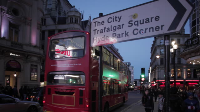 piccadilly circus at dusk, city of westminster, london, england, uk - direction stock videos & royalty-free footage